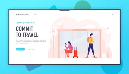 City Life, People on Public Transport Station Website Landing Page. Woman with Suitcase and Man with Backpack Stand on Bus Stop Waiting Commuter Web Page Banner. Cartoon Flat Vector Illustration Çizim