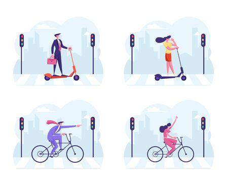 Set Businesspeople Characters in Formal Wear Riding Bicycle and Electric Scooter Crossing Road by Crosswalk with Traffic Lights on Cityscape Background with Buildings. Cartoon Flat Vector Illustration