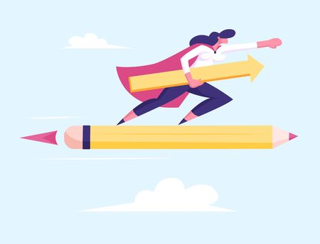 Female Superhero in Red Cloak Super Employee Girl with Arrow in Hand Flying on Huge Pen Rocket among Clouds in Sky. Business Success Leadership Professionalism Concept Cartoon Flat Vector Illustration