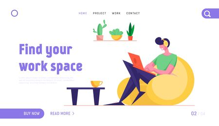 Freelance Occupation Website Landing Page. Freelancer Sit on Armchair Working Distant on Laptop from Home. Worker Creativity Process, Remote Workplace Web Page Banner. Cartoon Flat Vector Illustration Çizim