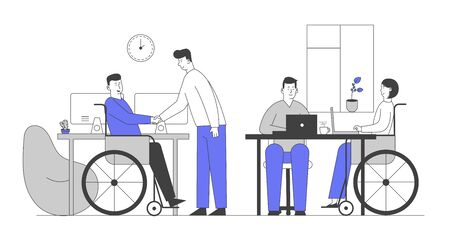 Handicapped People Working in Office. Disabled Man Shaking Hand with Colleague at Workplace. Business Woman Sitting in Wheelchair Work at Laptop with Partner Cartoon Flat Vector Illustration, Line Art