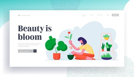 Botanist Care of Houseplant and Grow Herbs Website Landing Page. Young Woman Planting Flower to Pot in Beautiful Greenhouse. Home Gardening Hobby Web Page Banner. Cartoon Flat Vector Illustration