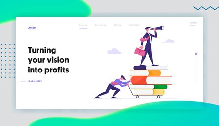Way to Success, Business Vision and Education Website Landing Page. Businessman Pushing Trolley with Books and Man Standing on Top Looking to Spyglass Web Page Banner. Cartoon Flat Vector Illustration Illusztráció