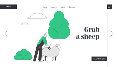 Farmer Shearing Sheep Website Landing Page. Sheepshearer Working on Farm. Shearer Man Removing Sheep Wool. Ewe Having Fleece Sheared Off Web Page Banner. Cartoon Flat Vector Illustration, Line Art Çizim