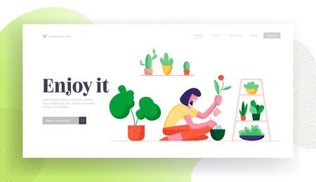 Gardening Hobby Website Landing Page. Woman Digging Home Plant Replanting to another Pot, Care of Domestic Flower in Greenhouse Orangery or Home Web Page Banner. Cartoon Flat Vector Illustration