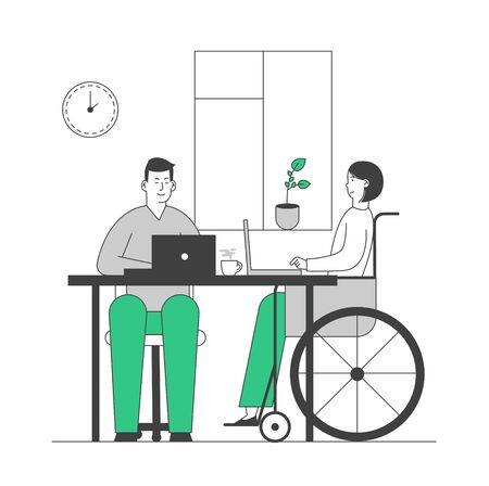 Disabled Young Woman in Wheelchair Working in Office with Healthy Colleague. Job for People with Physical Disability. Handicapped Girl Work Employment. Cartoon Flat Vector Illustration, Line Art Çizim