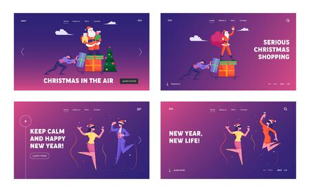 Corporate Party Website Landing Page Set. Web Page Banner. Businessman Push Trolley with Santa Holding Sack with Presents and Waving Hand. Business Colleagues Dancing Cartoon Flat Vector Illustration Ilustração