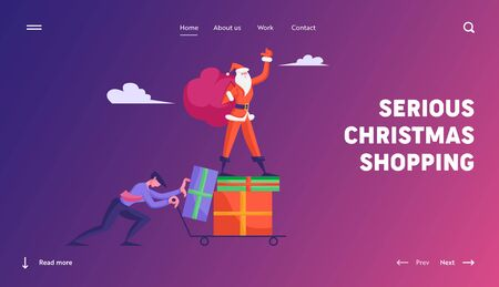 Merry Christmas and Happy New Year Celebration Website Landing Page. Businessman Pushing Trolley with Santa Claus Standing on Heap of Gift Boxes Web Page Banner. Cartoon Flat Vector Illustration