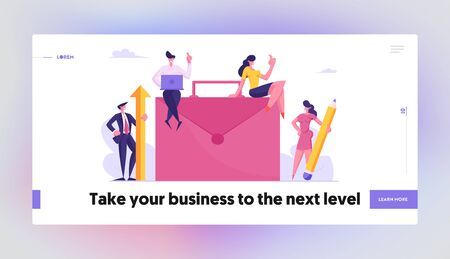 Teamwork Cooperation, Partnership and Office Work Website Landing Page. Businesspeople Working around of Huge Briefcase with Laptop, Pencil and Arrow Web Page Banner. Cartoon Flat Vector Illustration