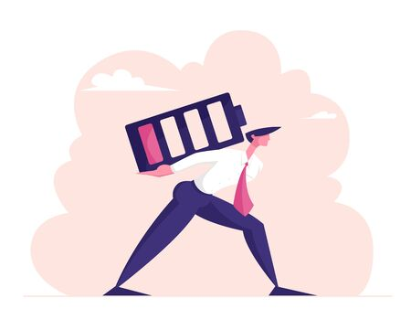 Haggard Businessman Carry Huge Battery with Low Red Charging Level on Back. Tired Employee Working from the Last Forces. Deadline Overload and Life Energy Concept. Cartoon Flat Vector Illustration Ilustração