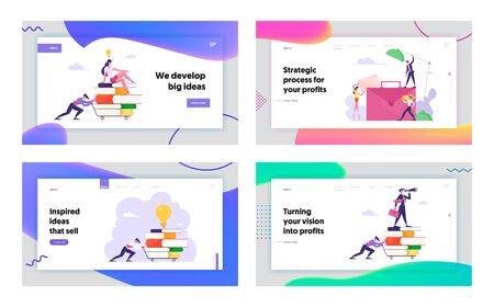 Way to Success, Office Work Cooperation, Business Vision and Education Website Landing Page Set. Man Pushing Trolley with Books, People at Briefcase Web Page Banner. Cartoon Flat Vector Illustration