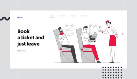Stewardess and Passenger in Cabin of Plane Website Landing Page. Air Hostess with Tray in Aisle of Salon Give Drink to Man. Journey Jet Trip Web Page Banner. Cartoon Flat Vector Illustration, Line Art