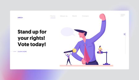 Political Conference Reportage Briefing Website Landing Page. Businessman Stand at Rostrum Speaking with Microphones. Man on Tribune Stage Debates Web Page Banner. Cartoon Flat Vector Illustration