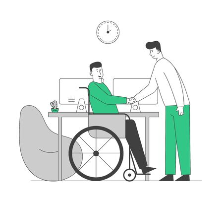 Disabled Man in Wheelchair Shaking Hand with Partner or Boss in Office, Share Creative Idea and Opinion. Physically Handicapped Worker Have Informal Meeting. Cartoon Flat Vector Illustration, Line Art