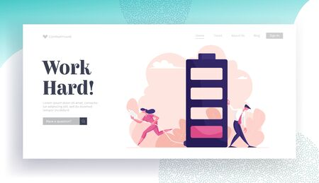 Businesspeople Life Energy Website Landing Page. Tired Businessman Leaning Huge Battery with Low Red Color Level Bar and Businesswoman Carry Plug Web Page Banner. Cartoon Flat Vector Illustration Vector Illustration