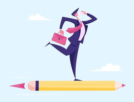 Business Man Character with Briefcase in Hand Flying on Huge Pencil Rocket Calling by Phone. Creative Successful Project Business Innovation Startup, Aim Achievement. Cartoon Flat Vector Illustration