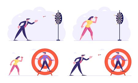 Set of Businesspeople Aiming Darts to Target. Office Workers Business Goals Achievement. Financial Aim Strategy, Corporate Mission Challenge, Leadership Task Solution Cartoon Flat Vector Illustration Vectores