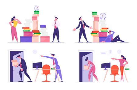 Set of Businesspeople Busy Work and Dismissal Situation. Fired Man Carry Belongings Go Out of Workplace. Office Employees Character Overload at Job in Very Busy Day. Cartoon Flat Vector Illustration
