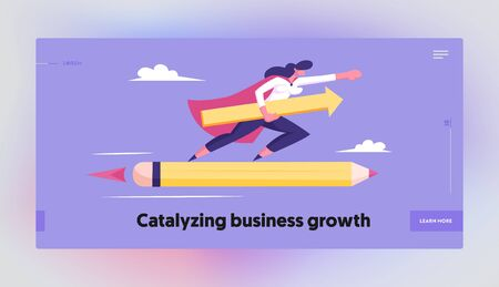 Business Success Leadership Professionalism Website Landing Page. Superhero Woman in Red Cloak with Arrow in Hand Flying on Huge Pencil Rocket in Sky Web Page Banner. Cartoon Flat Vector Illustration