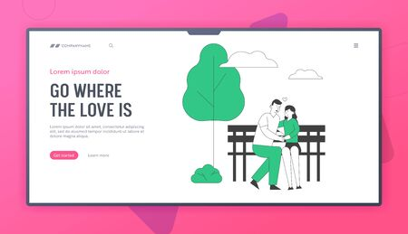 Romantic Relations, Love Website Landing Page. Young Loving Couple Hugging Sitting on Bench in City Park. Man Holding Woman Hand. Outdoors Web Page Banner. Cartoon Flat Vector Illustration, Line Art