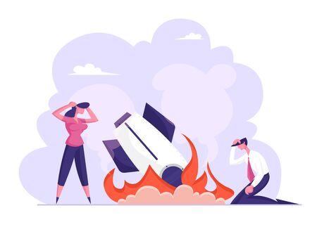 Fallimento aziendale, crash. Uomo d'affari imprenditrice Stand a Burning Crashed Startup Rocket. Astronave cadere. Persone infelici tristi per il lancio non funzionante del progetto Cartoon Flat Vector Illustration