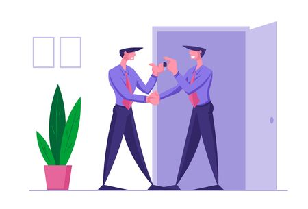 Job Seeker or Boss Hiring Employee Concept. Successful Partner Negotiation, Job Offer. Top Manager Handshaking with New Worker Giving Keys from Cabinet or Working Car. Cartoon Flat Vector Illustration Illustration