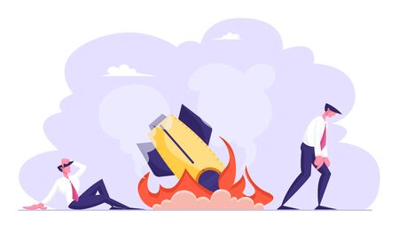 Shocked Business Men Looking on Burning Spaceship or Rocket Fall Down on Ground. Businessmen Disappointed and Sad of Company Startup Idea Failed. Bad Fortune, Fiasco