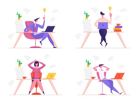 Set of Businessmen and Businesswomen at Work. Business People Characters Office Employees Sitting at Desk Having Creative Ideas, Relaxing and Worry for Lack of Time. Cartoon Flat Vector Illustration Illustration