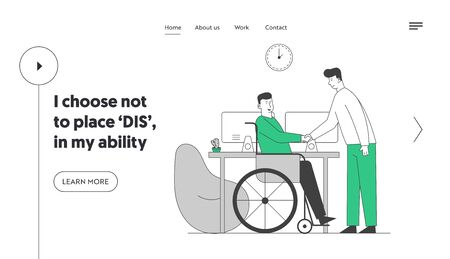 Employment for Disabled People Website Landing Page. Man in Wheelchair Shaking Hand with Partner or Boss in Office, Share Idea and Opinion Web Page Banner. Cartoon Flat Vector Illustration, Line Art
