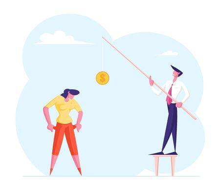 Economical Loan Payback Problem Bankruptcy. Pressured Office Worker with Unpaid Loan Debt Show Empty Pockets to Businessman Holding Rod with Bait Coin. Budget Collapse Cartoon Flat Vector Illustration