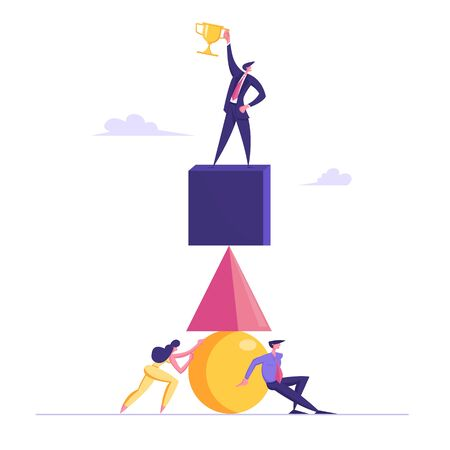 Businesspeople Building Pyramid of Huge Geometrical Figures. Leader Stand on Top Demonstrate Golden Trophy in Hand. Leadership, Goal Achievement, Teamwork Cooperation Cartoon Flat Vector Illustration Çizim