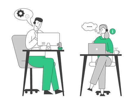 Glimlachende vriendelijke mannelijke en vrouwelijke callcenteragenten met headset die werken aan de ondersteuningshotline in kantoor en klanten helpen hun problemen op te lossen. Cartoon platte vectorillustratie, zeer fijne tekeningen