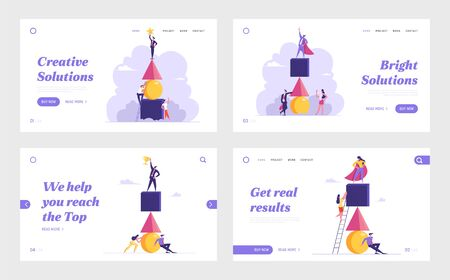 Business Competition, Teamwork, Challenge Website Landing Page Set. Colleague Climb Up by Ladder Trying to Reach Leader on Top of Pyramid. Team Work Web Page Banner. Cartoon Flat Vector Illustration