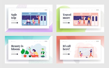 People Going by Metro, Waiting on Bus Stop, Gardening Hobby Website Landing Page Set. Characters Using Commuter Transport, Care of Potted Home Plants Web Page Banner. Cartoon Flat Vector Illustration