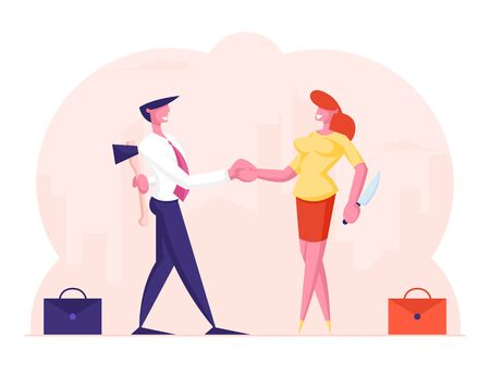 Betrayal Concept. Businessman and Businesswoman Shaking Hands and Smiling to Each Other while Hiding Ax and Knife Behind of Back. Meanness Falsehood Trickery People. Cartoon Flat Vector Illustration Çizim