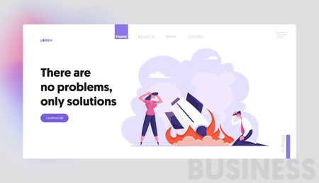 Business Failure, Crash Website Landing Page. Businesspeople Stand at Burning Startup Rocket. Unhappy People Sad about Launching Not Working Project Web Page Banner. Cartoon Flat Vector Illustration