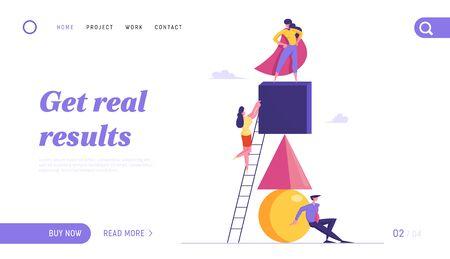 Le travail d'équipe de personnes créatives coopère pour la page de destination du site Web de réalisation des objectifs. Pyramide de création d'équipe de rêve réussie, leader du stand de cape rouge sur la bannière de la page Web supérieure. Illustration vectorielle plane de dessin animé Vecteurs