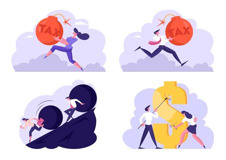 Set of Businesspeople Tax Payment, Escape of Huge Rolling Rock, Painting Golden Dollar Sign with Rollers. Business Troubles, Debt, Finance Success and Failure Concept. Cartoon Flat Vector Illustration