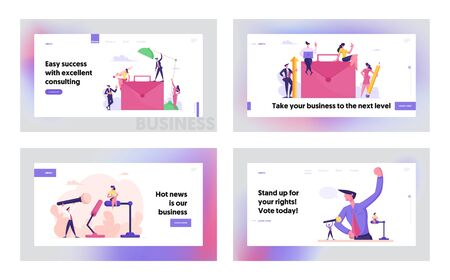 Public Relation, Communication, Business Project Website Landing Page Set. People Working and Developing Startup, Discussion or Presidential Election Web Page Banner. Cartoon Flat Vector Illustration