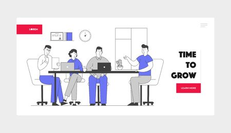 Job Interview with Selection Committee Website Landing Page. Manager Ask Question to Applicant About Work History Skill Expertise Experience Web Page Banner. Cartoon Flat Vector Illustration, Line Art
