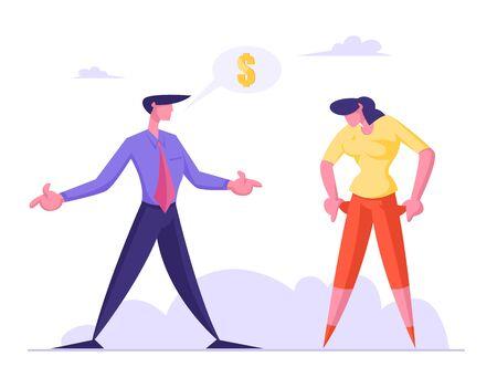 Femme frustrée montrant des poches vides à un homme d'affaires lui demandant de l'argent. Concept de chômage, de faillite et de pauvreté. Créancier demande la dette de femme d'affaires. Illustration vectorielle plane de dessin animé
