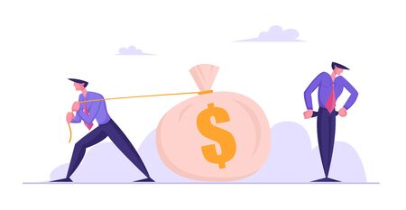 Poor Confused Businessman Stand with Empty Pockets while his Opponent or Creditor Pulling Huge Sack Full of Money. Gambling, Economy Crisis or Bankruptcy Concept. Cartoon Flat Vector Illustration Vectores