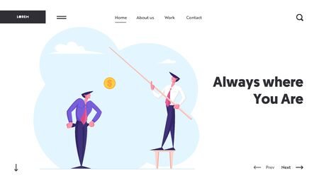 Money Problem, Financial Trouble Website Landing Page. Depressed Businessman in Need Show Empty Pockets to Male Character Holding Rod with Golden Coin Web Page Banner. Cartoon Flat Vector Illustration