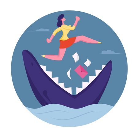 Businesswoman Jumping over Shark with Open Jaws in Ocean Drop Documents. Risk Management Concept