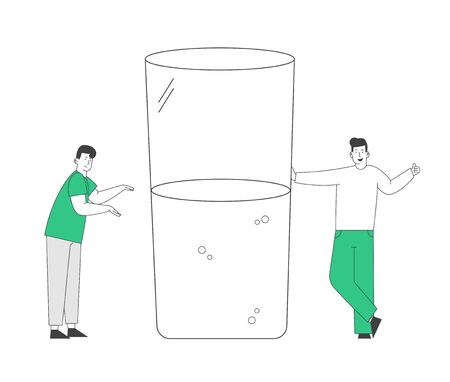 Optimist and Pessimist. Couple of Male Characters Stand at Huge Water Glass Discussing if it is Half Full or Empty