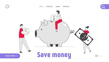 Les gens économisent et collectent de l'argent sur la page de destination du site Web Thrift-box. L'homme et la femme mettent la pièce d'or et le billet de banque en dollars dans la tirelire, la bannière de la page Web du budget. Dessin Animé Plat Illustration Vectorielle Dessin Au Trait