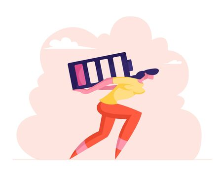 Deadline Overload and Life Energy Concept. Haggard Businesswoman Carry Huge Battery with Low Red Charging Level on Back. Tired Employee Working from the Last Forces. Cartoon Flat Vector Illustration