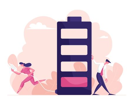 Businesspeople and Life Energy Concept. Tired Businessman Leaning Huge Battery with Low Red Color Level Bar and Businesswoman Carry Plug to Put in Socket for Charging. Cartoon Flat Vector Illustration Illustration