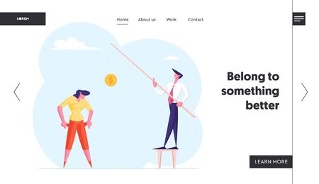 Economical Loan Payback Problem, Bankruptcy Website Landing Page. Office Worker Show Empty Pockets to Businessman Holding Rod with Coin Budget Collapse Web Page Banner Cartoon Flat Vector Illustration