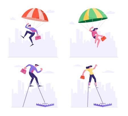 Set of Businesspeople Falling Down with Parachute and Walking on Stilts Step into Trap Lying on Ground. Business People Skydivers Risk Danger and Safety Concept. Cartoon Flat Vector Illustration